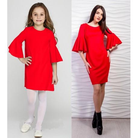Платье мама дочка  с пышными рукавами-воланами