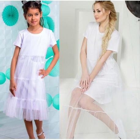 Платье мама дочка с фатином