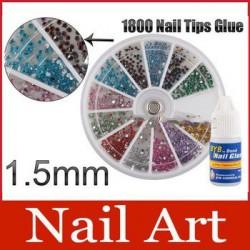 Набор клей +стразы каруселька для ногтей