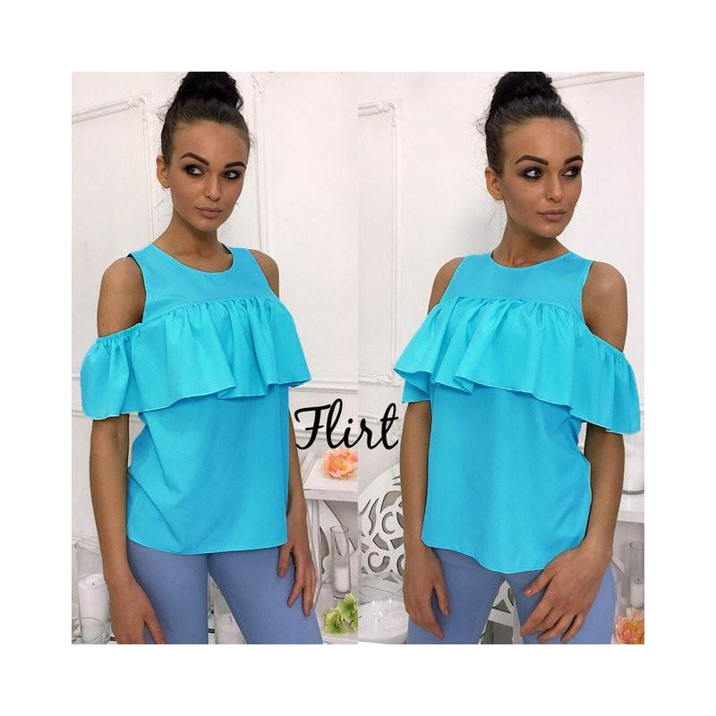 Блуза с открытыми плечами и воланом своими руками 36