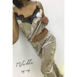Домашний костюм пижамка велюр мраморній