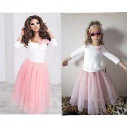 Комплект мама и дочка кофта с юбкой фатиновой