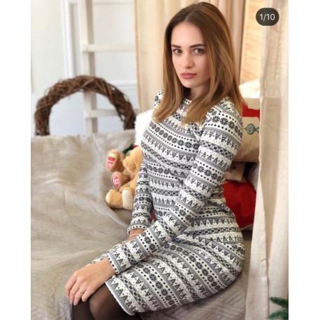 Платье на меху мега-теплое Олени