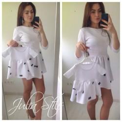 Платье мама дочка в мелкие бантики