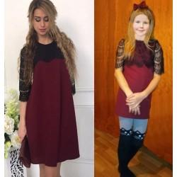 Комплект платьев мама-дочка с кружевом