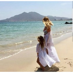Комплект пляжных накидок мама дочка фемели лук пляжные халаты