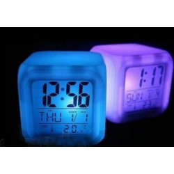 Светящиеся часы-хамелеон кубик, ночник с будильником, термометром и календарём, 5 цветов подсветки