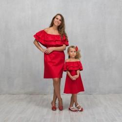 Комплект мама и дочь двойной волан family look