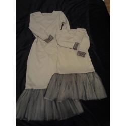 Комплект платьев мама и дочка сетка горох