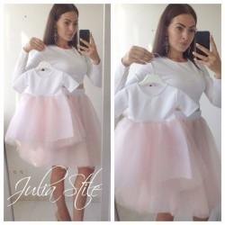 Комплект юбок+кофточек с фатиновыми юбками family look мама и дочка